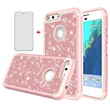 Phone Case for Google Pixel XL with Tempered Glass Screen Protector Cover and Bling Glitter Slim Hybrid Rubber Silicone Cell Accessories Pixle 1 XL One Pixel1 1XL 2016 Cases Women Girls Pink Rose Gold