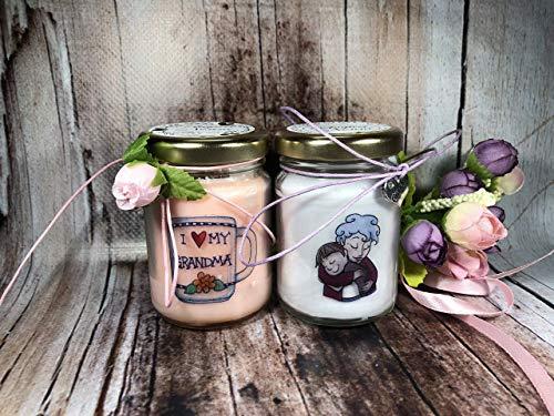 Ti voglio bene Nonna 2 vasetti con candele di cera di soia e oli essenziali Idea Regalo per la Nonna Festa dei Nonni Regalo di Natale