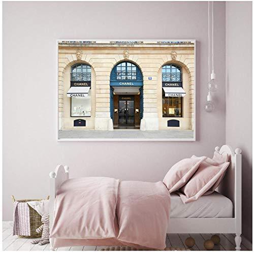 MULMF Fashion Building Canvas Prints Zwart Wit Parfum Merk Posters Muurfoto voor Meisje Slaapkamer Art Decoratieve Schilderij Decor- 50X70Cm Geen Frame