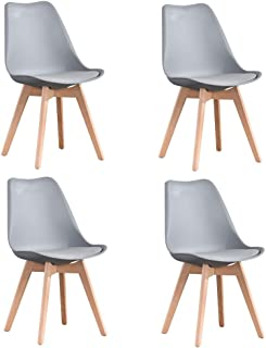 Luckeu - Juego de 4 sillas de comedor tapizadas con patas de madera de haya acolchadas, para comedor, salón, dormitorio, cocina, salón, salón, etc.