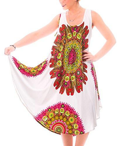 Gadzo Sommerkleid Strandkleid Damen Tunika Trägerkleid StrandM 080104 weiß/rot