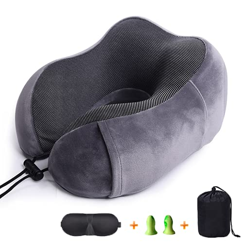 Shcnlery Travel Pillow Memory Foam Neck Pillow with 360,with 3D Mask and Memory Foam Earplugs,Practical Travel Accessory,Airplane and Road Trip Essentials for Adults (Grey)