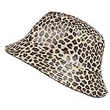 TOUTACOO, Sombrero para la Lluvia, Encerada Mate, Mujer, Estampado de Leopardo (Marrón Claro)
