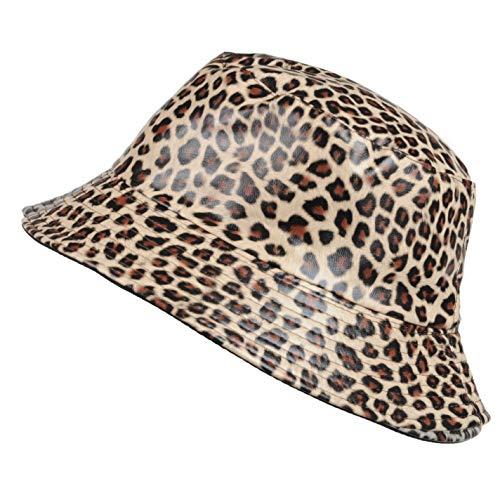 TOUTACOO, Sombrero para la Lluvia, Encerada Mate, Mujer, Estampado de Leopardo (Marrón...