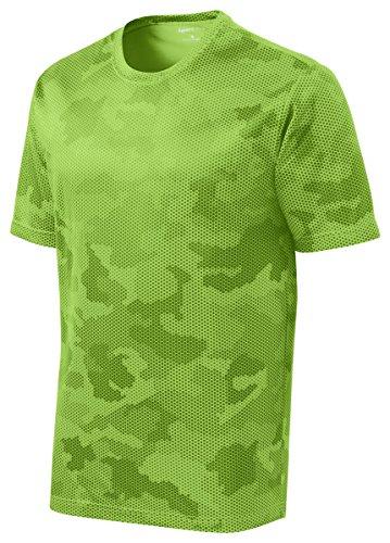 Sport-Tek Men's Moisture Wicking CamoHex Tee Shirt - Lime Shock ST370 2XL