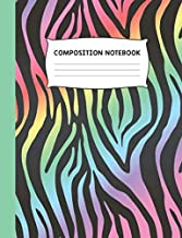 Composition Notebook: Zebra Print Colorful Trendy Design Wide Ruled Notebook Journal