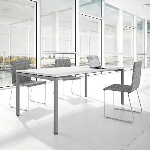 Weber Büroleben GmbH Profi Besprechungstisch 200x100cm NOVA U 4-8 Pers. Konferenztisch Meetingtisch, Gestellfarbe:Silber
