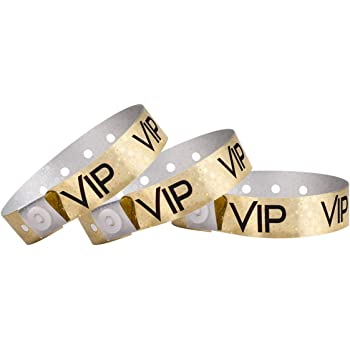 WristCo Holographic Gold VIP Plastic Wristbands - 100 Pack Wristbands for Events