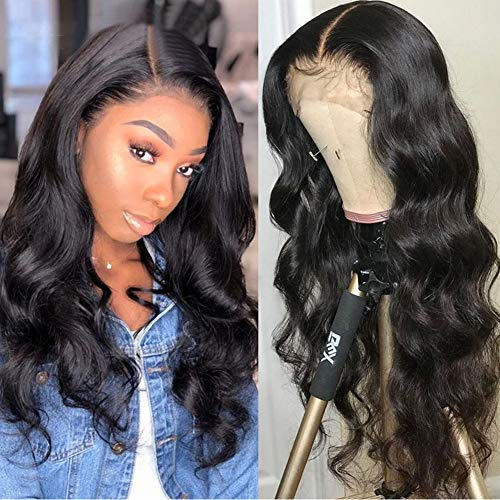 """Full Lace Small Cap Human Hair Wigs Pre Plucked Fake Scalp Bodywave Natural Color Sexy Natural Hairline Brazilian Human Hair Wigs for Black Women with Baby Hair No Shedding No Tangling 150% 14"""""""
