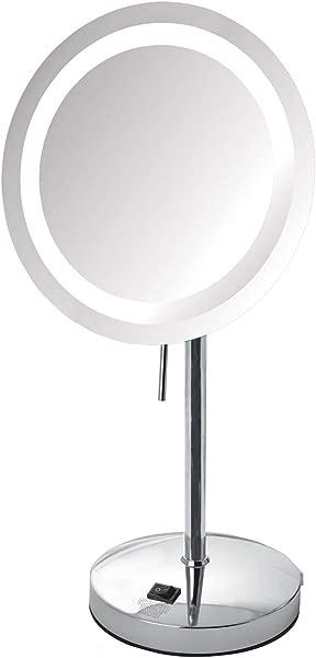 Sharper Image JRT950CL 8 5 Inch Slimline LED Lighted Tabletop 8x Magnification Mirror Chrome Renewed
