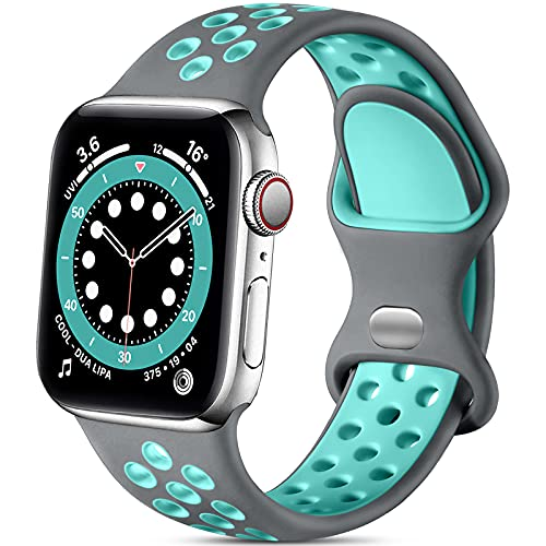 Lerobo Sport Bands Compatible with Apple Watch Band 40mm 38mm iWatch Series 6 5 4 3 2 1 SE for Women Men, Soft Durable Silicone Sport Breathable with Air Holes Replacement Wristband, Gray Teal, S M