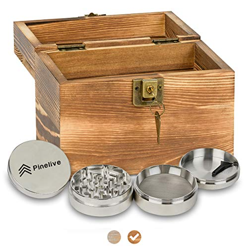 """Pinelive Stash Box with Lock Kit - Stash Box Combo (Stash Box with Grinder 2.5"""") Rustic Large Wood Box with Lid. Smoking Box for Tobacco Products, Raw Herb Box, Accessory (Rustic Light Black, Small)"""