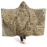 Warm Hooded Blanket Middle Earth Map Comfortable Bed Couch Car Wrap Wearable Cloak Cape Hooded Blanket for Woman Mens Kid,fits Winter Summer Fall Spring,80'' x60