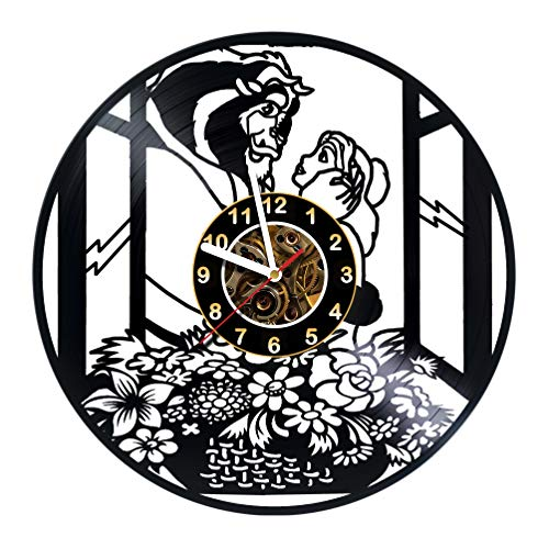 The Beauty and the Beast Movie Vinyl Record Wall Clock - Poster - Rose - Wall decor - Party - Gift ideas for friends, teens, children, men and women, girls and boys - Fairytale Movie Unique Art Design