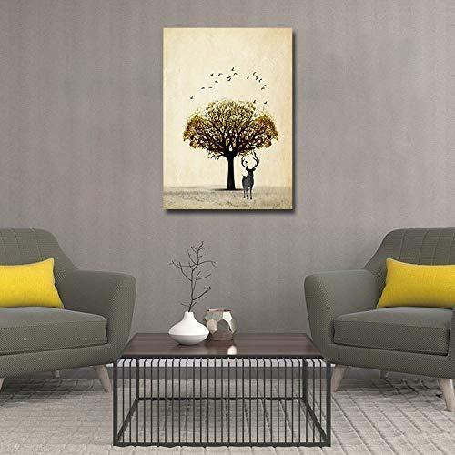 adgkitb canvas 50x70cm Debajo del árbol, Pintura Mural Mula, Pintura Decorativa, sin Marco