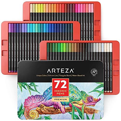 Arteza Inkonic Fineliner Set, 72 feine Filzstifte mit 0,4mm Spitze, farbige Bullet Journal Fineliner, dreikant, mit ergonomischer Schaft und Farbnummern zum Ausmalen, Zeichnen und Detaillieren