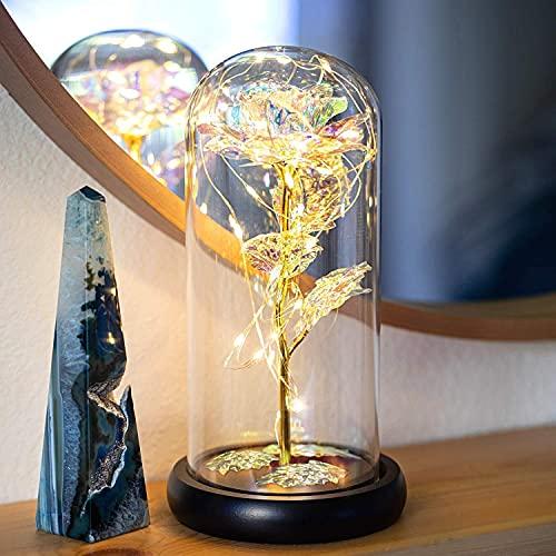 HELA Flor preservada de Rosa eterna con Luces LED en Vidrio - Juego de Regalo (Galaxy Rosa)