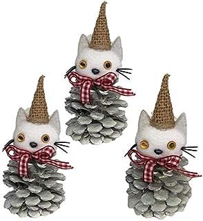 【クリスマス 雑貨】松ぼっくり猫 装飾 かわいい 置物 インテリア おしゃれ オーナメント アートリーフ 冬 グッズ (猫松ぼっくり:白系)