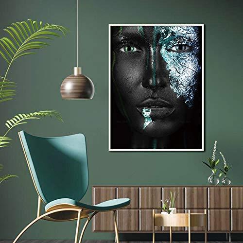 Moderne Schwarze Silberne afrikanische Frau Poster Wandkunst Wohnzimmer Hauptdekoration Leinwand Malerei,Rahmenlose Malerei-40X53cm