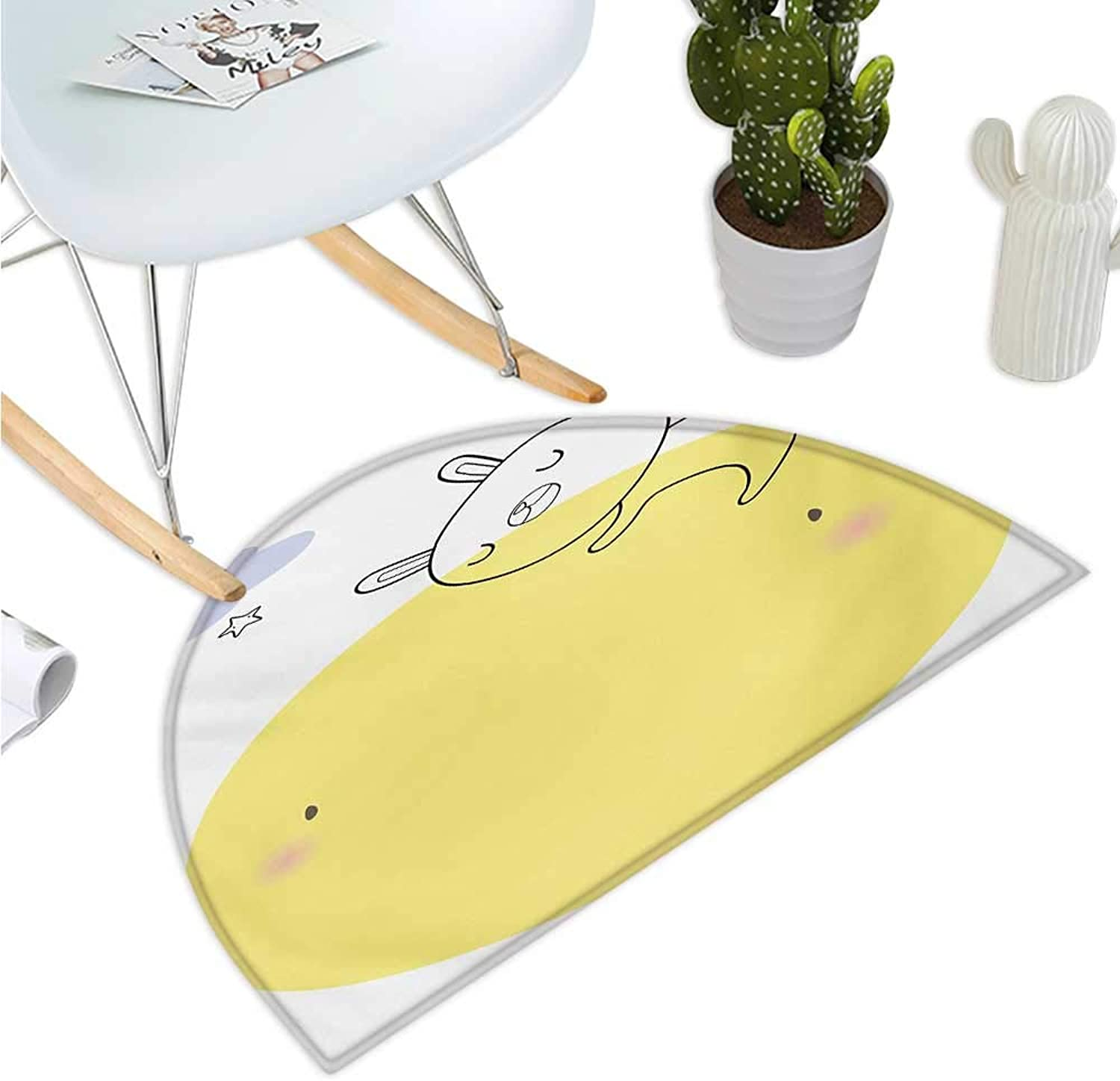 Moon Semicircular Cushion Doodle Style Cartoon Bunny Sleeping on Moon with Stars and Cloud colorful Image Entry Door Mat H 39.3  xD 59  Yellow Pink bluee