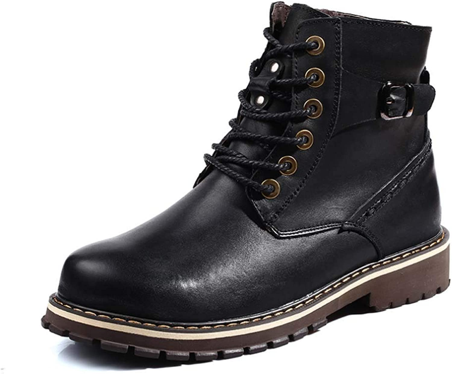 Men British Martin Boots Winter Plush Warm Cotton High shoes Leather Boots