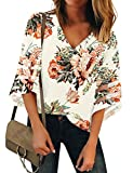 luvamia Women's Casual V Neck Tops 3/4 Bell Sleeve Mesh Panel Shirts Loose Tops Blouses Floral Print Apricot Size L