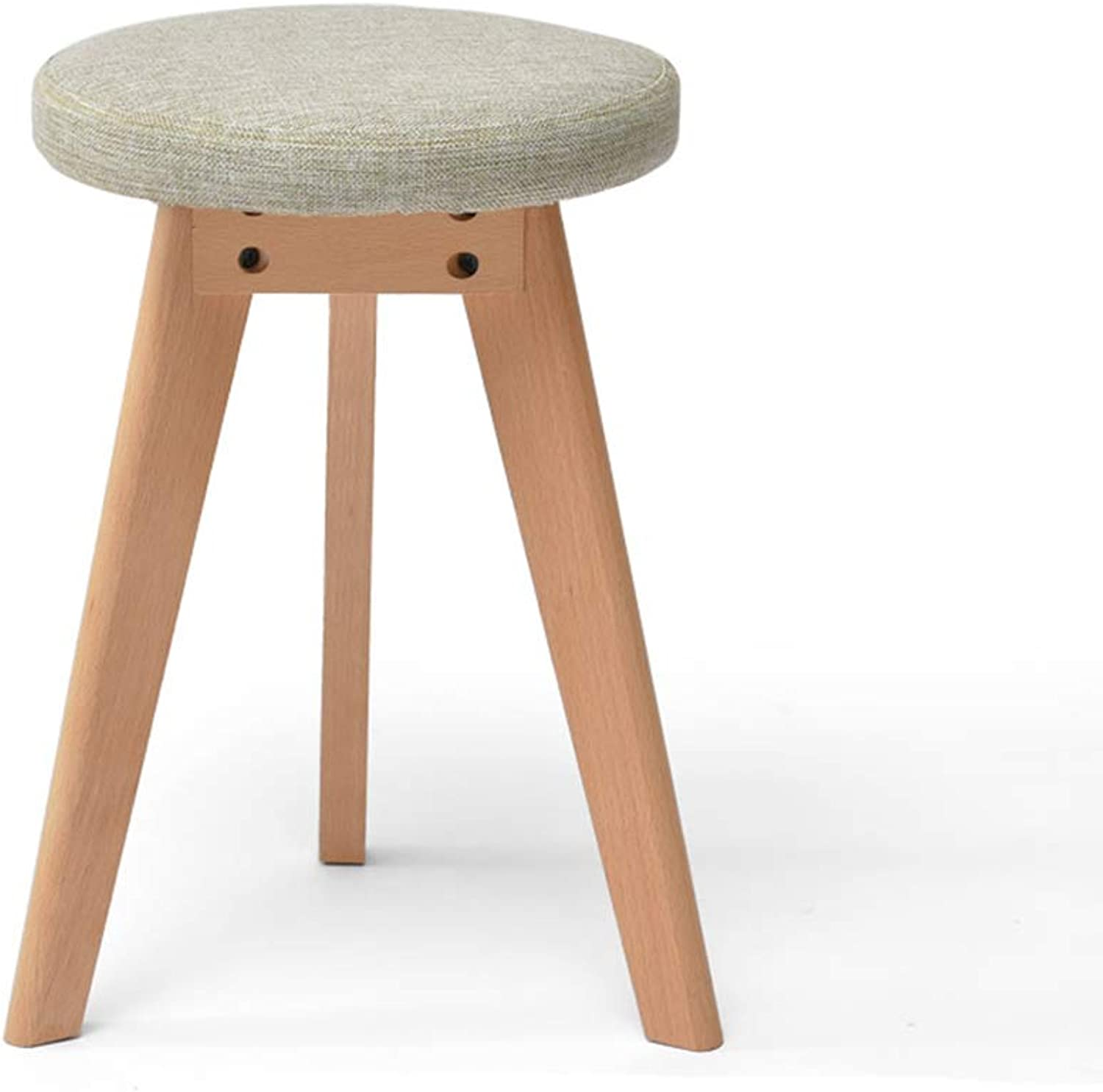 Solid Wood Stool Fabric Makeup Stool Home Dining Table Stool Nordic Small Bench Washable Stool Cover (color   B)