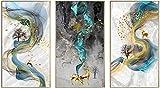 SHKHJBH Impresión en Lienzo Moderno Abstracto Dorado Ciervo Arte de la Pared impresión en Lienzo póster Imagen Pasillo Sala de Estar decoración del hogar 3 Piezas 50x70cm sin Marco