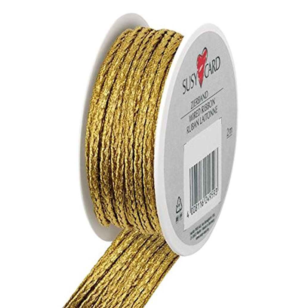 Susy Card 40003528?Christmas Calgary + Cord?–?2MX3?MM Small Reel Textile Cord, 1?Piece, Gold