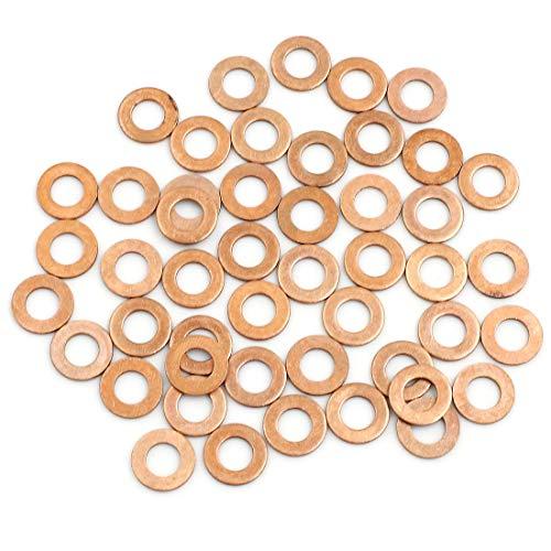 sourcing map 50stk. Scheiben Flach Dichtung Ring für Auto 6mm Innendurchmesser Kupfer Ton