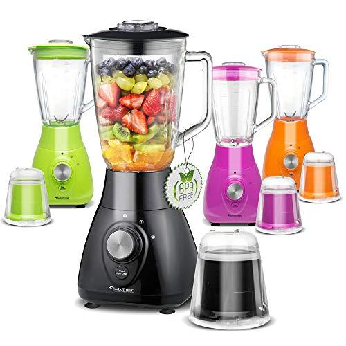 TurboTronic/Standmixer mit Glasbehälter und Kaffeemühlen-Aufsatz / 1,5L / pink, grün, orange, schwarz/BPA-frei, Smoothie Maker, Blender, crushed ice, 800W
