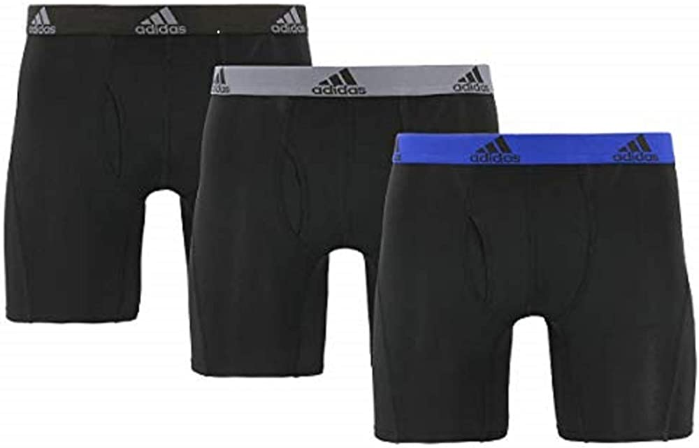 adidas Men's Performance Boxer Brief Underwear (3-Pack) (Medium, Black/Black, Gray/Black, Blue/Black)