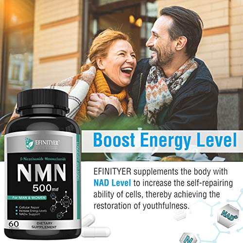 51mZvPT6shL - NMN Supplement, 500mg Nicotinamide Mononucleotide Per Serving Powerful NAD+ Precursor Naturally Boost NAD+ Levels Supplement for Anti-Aging Energy Metabolism Vegan Friendly 60 Capsules