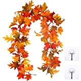 Whaline Artificial Autumn Fall Maple Leaves Garland Hanging Plant for Home Garden Wall Doorway Backdrop Fireplace Decoration Wedding Party Thanksgiving Day Decor (Light)