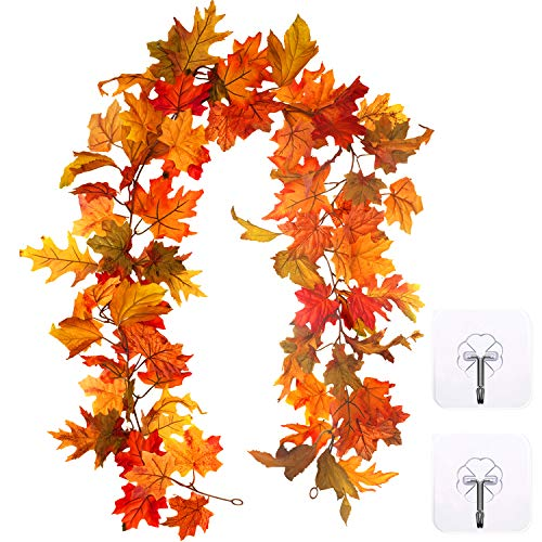 Whaline Artificial Autumn Maple Leaves Garland, Fall Hanging Plant for Home Garden Wall Doorway Fireplace Decoration Wedding Party Thanksgiving Day Decor, 6 ft