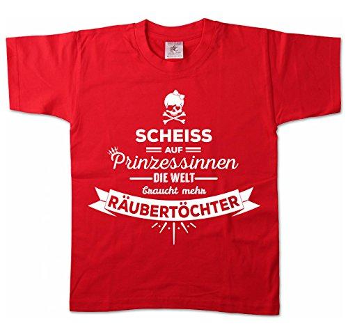 Artdiktat - Scheiß auf Prinzessinnen - Die Welt braucht mehr Räubertöchter - Kinder T-Shirt 122/128, rot