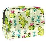 Kit de Maquillaje Neceser Plantas Cactus Verde Make Up Bolso de Cosméticos Portable Organizador Maletín para Maquillaje Maleta de Makeup Profesional 18.5x7.5x13cm
