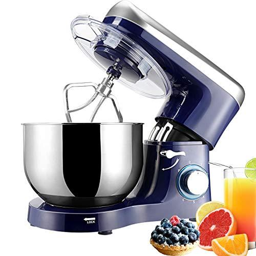 Elegant Life 1500W Küchenmaschine,5.5L Auto-Knetmaschine Rührgeräte,Abnehmbar Mixer mit Rührschüssel,einschließlich Schläger,Teighaken,Schneebesen und Schüsseldeckel Schüssel-Nicht für Geschirrspüler
