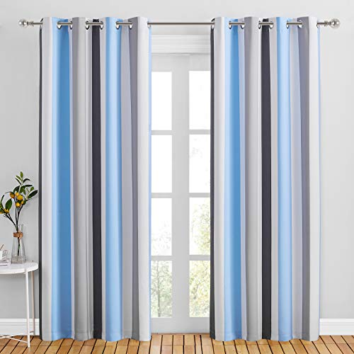"""NICETOWN Hit Color Striped Curtains 84 inches Length, Decorative Blue & Grey Drapes Window Treatments with Grommet Top for Porch/Living Room/Bedroom, 2 Panels, 52"""" W Each Panel"""