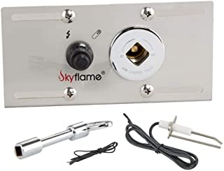 Skyflame Stainless Steel Extensive Fire Pit Gas Burner Spark Ignition Kit - Including Push Button Igniter, 1/2 Straight Gas Key Valve with Key