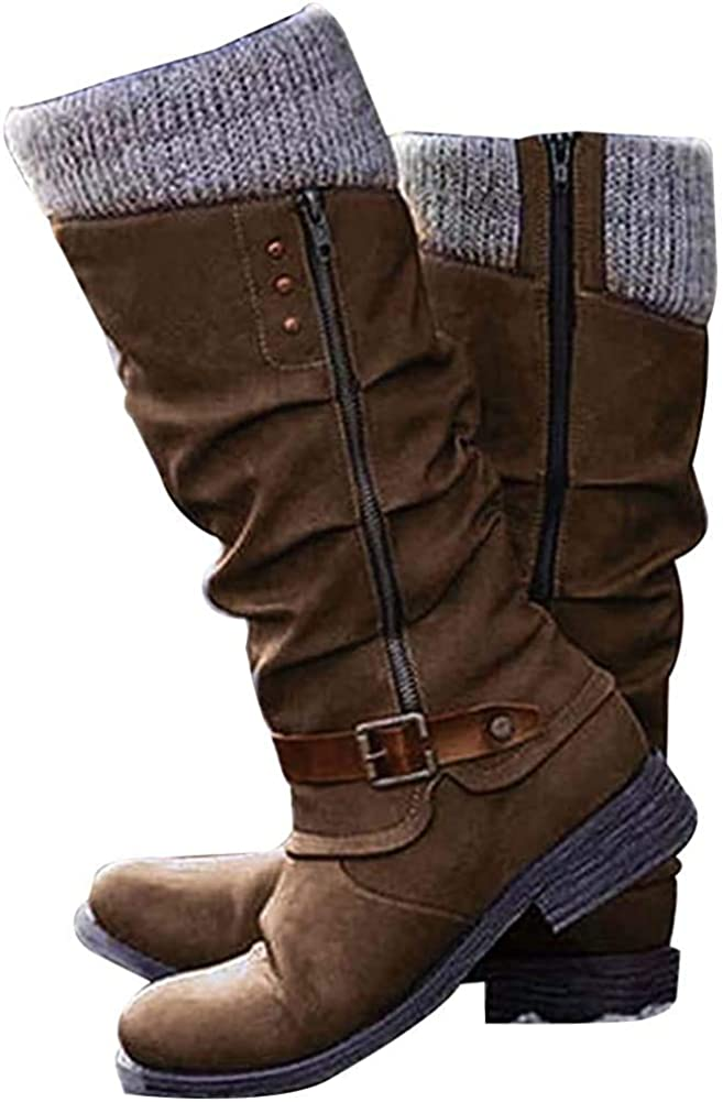 SO SIMPOK Women's Vintage Knee High Boots Riding Boots Low Chunky Heel Combat Mid Calf Boots