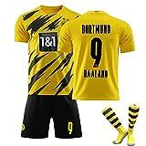 LISI Trikot Fußball für Kinder und Erwachsene Borussia Dortmund Haland 20/21 Heim Trikot und Shorts mit Socken für Sommer Training,A,M