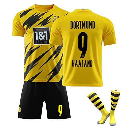 LISI Trikot Fußball für Kinder und Erwachsene Borussia Dortmund Haland 20/21 Heim Trikot und Shorts mit Socken für Sommer Training,A,24
