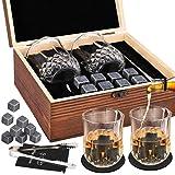 GOLDGE - Juego de regalo de piedra a Whisky con 8 piedras de refrigeración de granito negro pulido FDA-Vite refrigeración, 2 vasos de Whisky & Pincetas de Barman & Deluxe caja de madera