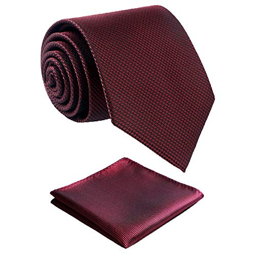 """Fortunatever Mens Solid Neckties,Burgundy Red Ties For Men With Pocket Square+Gift Box,58""""×3.35"""""""