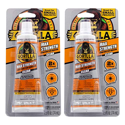 Gorilla Construction Adhesive Max Strength, 2.5 Ounce Tube, Clear, (Pack of 2)