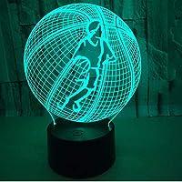 クリエイティブバスケットボール7色3DライトタッチイリュージョンUSBデスクトップUSBLEDナイトライトかわいい漫画子供のおもちゃ3Dライト