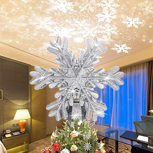 Fohuas Christmas Tree Topper with 3D snowfake Projector,LED Rotating Snowflake Xmas Light lamp,Glitter Sparkling Silver Snow Christmas Tree-top Decoration Ornament