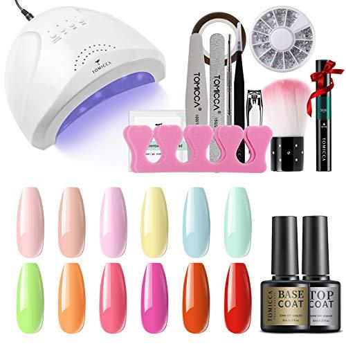 TOMICCA Gel-Nagellack-Lampen-Set, 12*6ml Candy Nude Pink Grün Rot Frühlingsfarben Gel-Lack-Set mit 48W UV-Nageldesign Maniküre Lampe Set