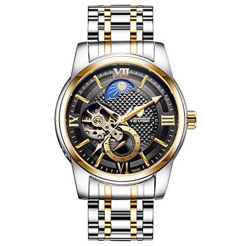 milageto Reloj De Pulsera Cronógrafo Mecánico Automático para Hombre TEVISE Luxury - Oro, Negro